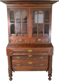 SOLD Country Flame Mahogany Empire Secretary Desk