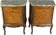 SOLD Pair of French Onyx Top Inlaid Nightstands