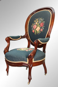SOLD Antique Victorian Needlepoint Gentleman's Arm Chair