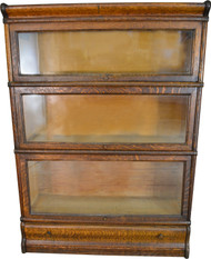 17651 Oak Three Section Bookcase with Drawer