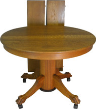 17680 Oak Reeded Base Claw Foot Dining Table 42 Inch 2 Leaves