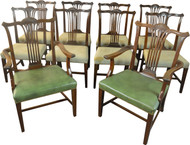 19804 Set of 10 Solid Mahogany Formal Dining Chairs