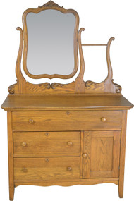 SOLD Oak Carved Bevel Mirror Hotel Commode