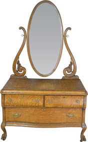 SOLD Oak Bevel Mirror Carved Princess Dresser – Claw Feet