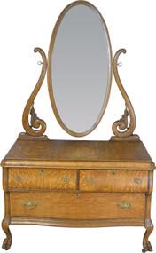 SOLD Oak Bevel Mirror Carved Princess Dresser – Claw Feet