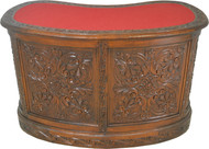 17427 Rare Carved Victorian Oak Kidney Desk