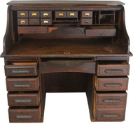 SOLD Oak Roll Top Desk with Carved Handles