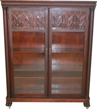 17650 Victorian Mahogany Claw Foot Leaded Glass Bookcase