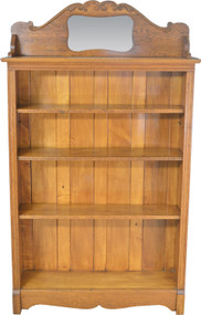SOLD Oak Larkin Bookcase with Mirrored Carved Backsplash