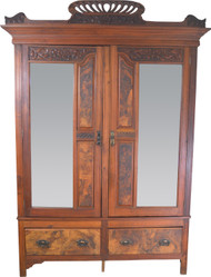 17674 Victorian Burl Walnut Bevel Glass Carved Wardrobe