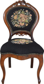 17683 Civil War Era Needlepoint Boudoir Chair