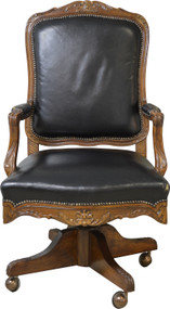 SOLD French Victorian Black Leather Swivel Tilt Lawyers Office Chair