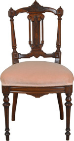 SOLD Victorian Walnut with Burl Carved Dainty Ladies Desk Chair
