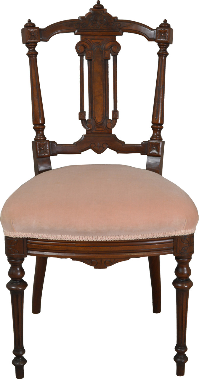 Sold Victorian Walnut With Burl Dainty Ladies Desk Chair Maine Antique Furniture