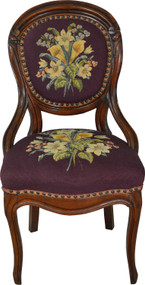 17687 Victorian Walnut Needlepoint Ladies Boudoir Chair