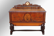 SOLD Antique Rare Art Deco Cedar Chest with Clock by Roos