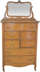 17690 Victorian Oak Gentleman's Hat Box Dresser with Bevel Mirror