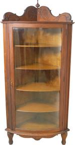 17691 Victorian Oak Curved Glass Corner China Cabinet