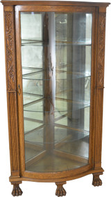 SOLD Carved Victorian Oak Corner China Cabinet