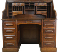 SOLD Oak Lawyers Banker Raised Panel Roll Top Desk – Victorian Age