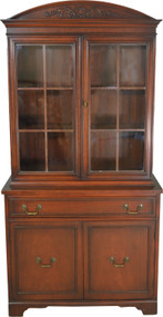 SOLD Mahogany Carved Step Back China Cabinet