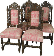 17705 Set of 4 Victorian Heavy Carved Barley Post Oak Chairs