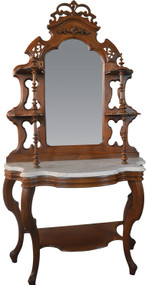 SOLD Victorian Walnut Marble Top Etagere