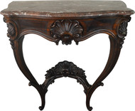 19831 Victorian Rosewood Marble Top Shapely Console