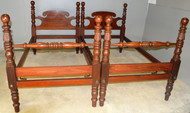 SOLD Early Pair of Acanthus Twin Cannon Ball Beds