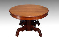 SOLD Antique Victorian Round Walnut Dining Table with Leaf