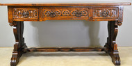 17729 Large Carved Oak Library Writing Table with Drawers