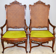 17771 Pair of Outstanding Carved Walnut French Throne Chairs