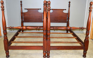 SOLD Pair of Tall Mahogany Pineapple Beds