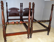 SOLD Pair of Unbelievable Extra Tall Twin Mahogany Poster Beds