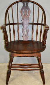 SOLD Solid Oak Knuckle Arm Windsor Chair