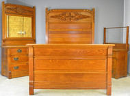 SOLD Victorian Carved Oak Bedroom Set – Raised Panel