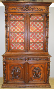 17694 Carved Oak Step Back China Cabinet