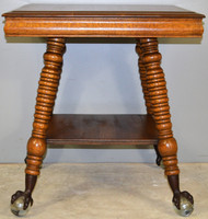 SOLD Victorian Large Claw Glass Foot Oak Parlor Table