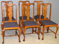 SOLD Set of Six Oak Queen Anne Dining Chairs – Unusual