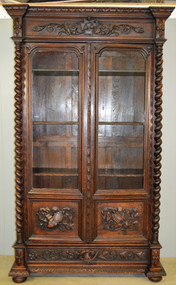 SOLD Victorian Oak Barley Twist Carved Library Cabinet