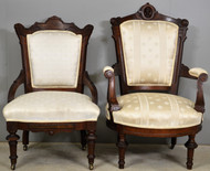 17743 Victorian Jenny Lind Gentleman's Chair & Victorian Ladies Chair