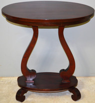 SOLD Oval Mahogany Empire Parlor Stand / Nightstand