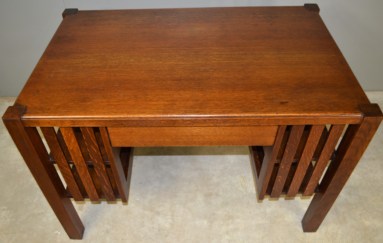 Sold Mission Oak Library Writing Desk With Bookshelves Maine Antique Furniture