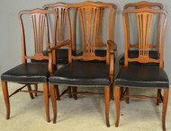 17716 Set of 6 Oak Dining Chairs with Leather Seats