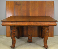 17717 Square Oak Table w/6 Leaves – Opens 10 Feet!
