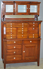 SOLD Mahogany Raised Panel Dental Cabinet – 1910's