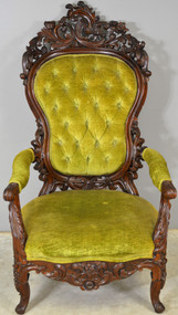 17756 Large Rococo Carved Civil War Era Gentleman's Chair