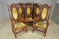 17826 Set of 8 Carved Oak Outstanding Dining Room Chairs – Victorian