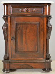 SOLD Victorian Rosewood Carved Marble Top Half Commode