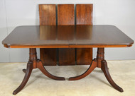 17834 Mahogany Double Pedestal Dining Table – 8 Feet Long